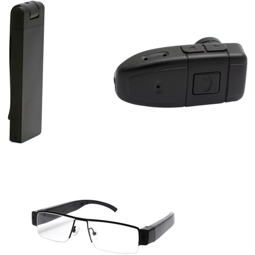 Mini Gadgets 1080p Covert Stick Camera with Non-Functional Bluetooth Earpiece & Glasses Kit