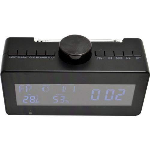 Mini Gadgets Digital Weather Clock Radio with Covert 1080p Wi-Fi Camera