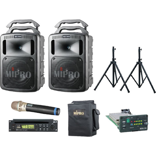 MIPRO FieldMaster Bluetooth Portable PA System with Dual Interlinked MA-708PAB Speakers and Wireless Handheld Microphone & Speaker Stands (5A: 506 to 530 MHz & 5NC: 542 to 566 MHz, Black)