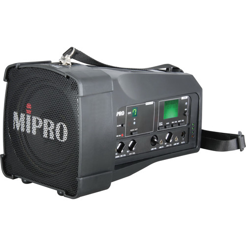 MIPRO MA-100su Single Channel Portable Rechargeable Wireless PA System With USB Player/Recorder (644 to 668 MHz, Black)