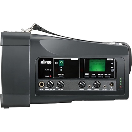 MIPRO MA-100su Single Channel Portable Rechargeable Wireless PA System With USB Player/Recorder (668 to 692 MHz, Black)