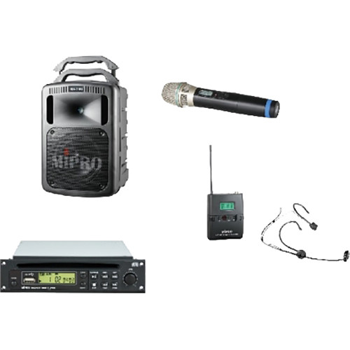 MIPRO MA708PADBCOMBO 190W Bluetooth Portable PA System with CD Player and Wireless Handheld & Headworn Mics (5A: 506 to 530 MHz & 6A: 620 to 644 MHz)