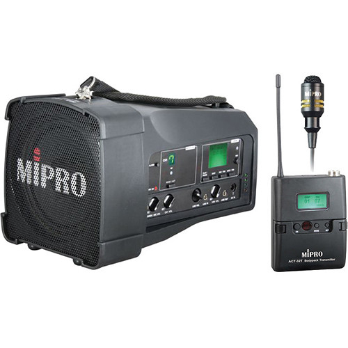 MIPRO MA-100SB/ACT32T 50W Portable PA System with Bodypack Transmitter and Lavalier Microphone (542 to 566 MHz)