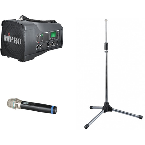 MIPRO OfficeBuddy 50W Personal PA System with Wireless Handheld Microphone and Speaker Stand (5A: 506 to 530 MHz)