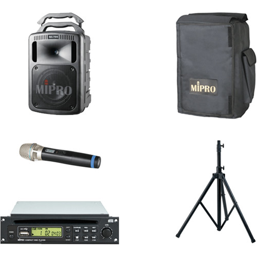 MIPRO SchoolAssembly 190W Bluetooth Portable PA System with Wireless Handheld Microphone, CD Player, and Speaker Stand (5A: 506 to 530 MHz)