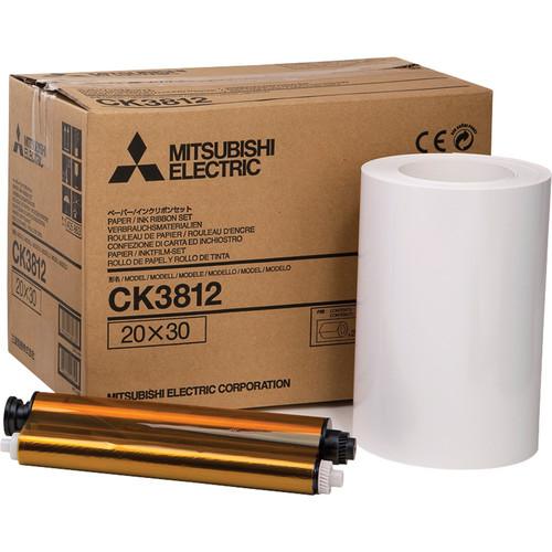 "Mitsubishi CK3812 Paper and Ribbon Set for CP-3800DW Dye-Sub Printer (8.0 x 12"", 2 Rolls)"