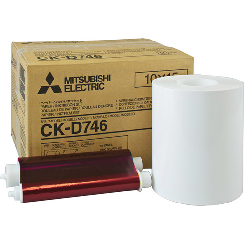 "Mitsubishi CK-D746-FP42 4 x 6"" Perforated Paper and Ink Media Kit"