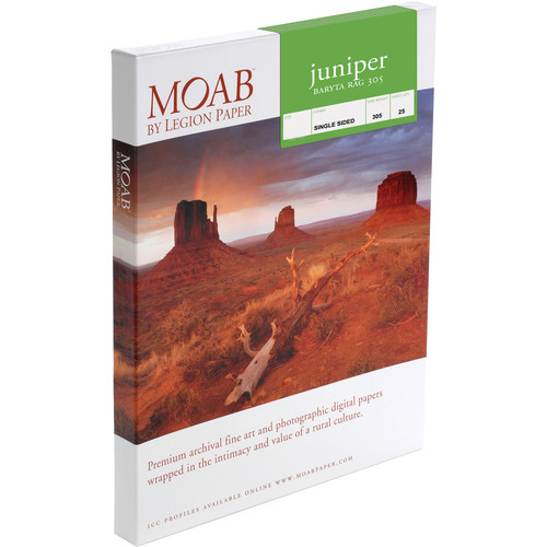 "Moab Juniper Baryta Rag 305 Paper (17 x 22"", 25 Sheets)"