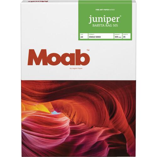 """Moab Juniper Baryta Rag 305 Paper (A4 8.3 x 11.7"""", 25 Sheets)"""