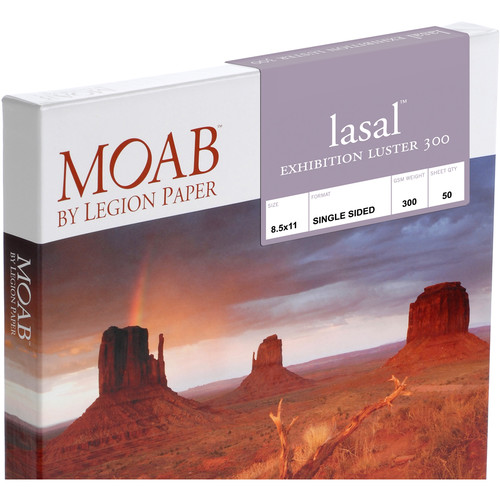 """Moab Lasal Exhibition Luster 300 Paper (8.5 x 11"""", 250 Sheets)"""