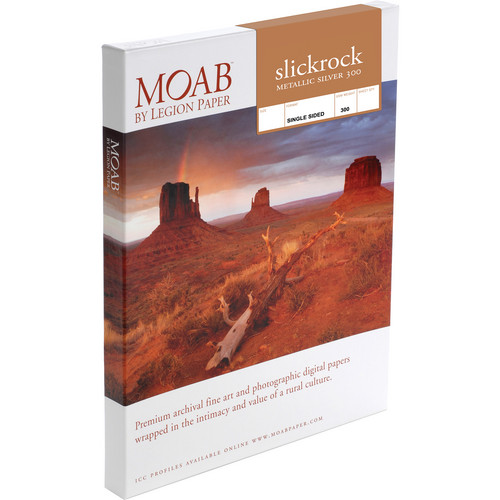 "Moab Slickrock Metallic Silver 300 Archival Inkjet Paper (8.5 x 11.0"", 100 Sheets)"