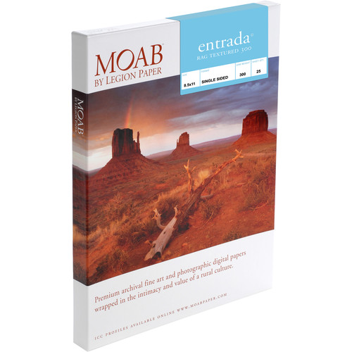 "Moab Entrada Rag Textured 300 Paper (8.5 x 11"", 25 Sheets)"