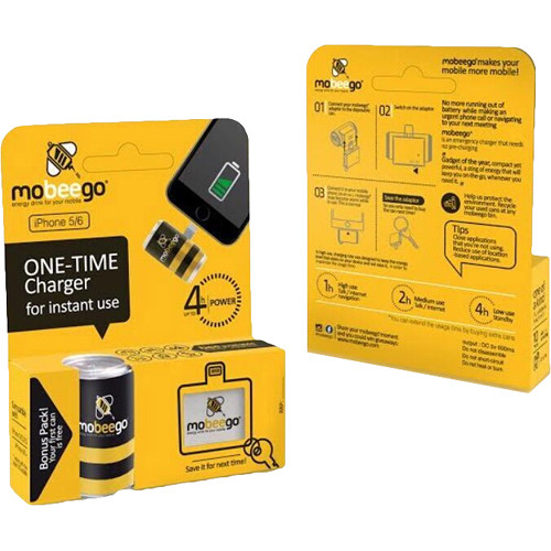 mobeego Single Shot Battery Power for iPhone 5/6 (1 Can & Reusable Lightning Adapter)