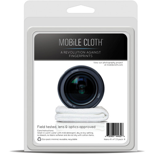 "Mobile Cloth Nano 4 x 4"" Cleaning Cloth for iPads, Tablets, Touchscreens, & Lenses (5-Pack)"