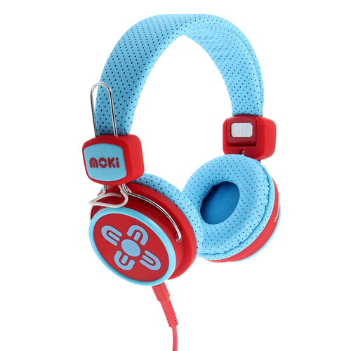 moki Kids Safe Volume-Limited Headphones (Blue/Red)