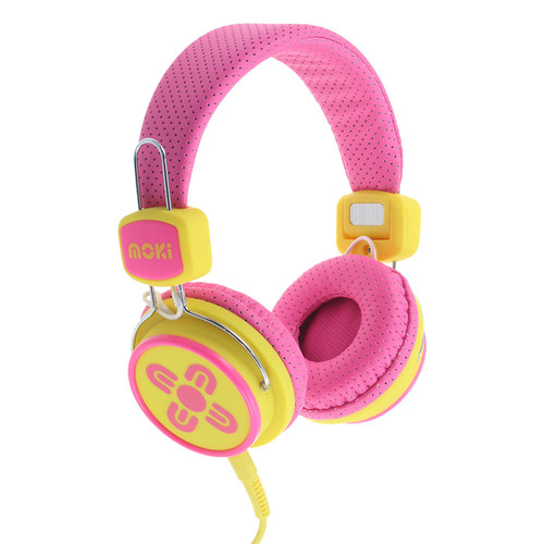 moki Kids Safe Volume-Limited Headphones (Pink/Yellow)