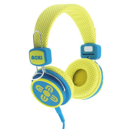 moki Kids Safe Volume-Limited Headphones (Yellow/Blue)