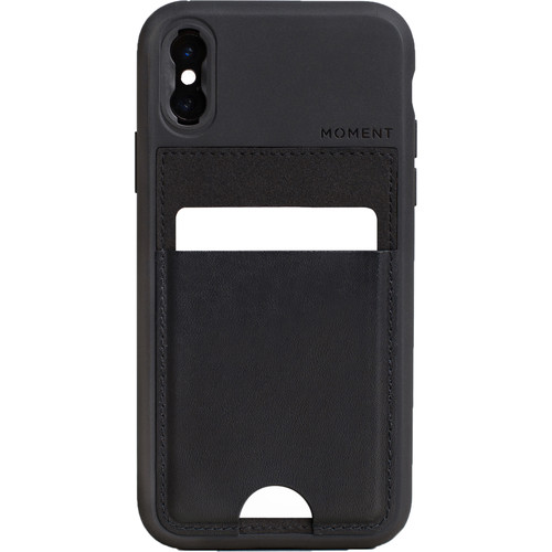 Moment Wallet Case for iPhone XS (Black Leather)