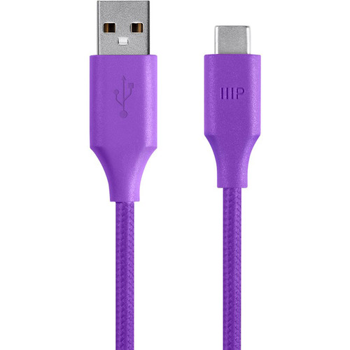 Monoprice USB 2.0 Type-C Male to Type-A Male Palette Series Cable (6', Purple)