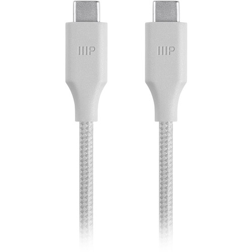 Monoprice USB 2.0 Type-C to Type-C Male Palette Series Cable (3', White)