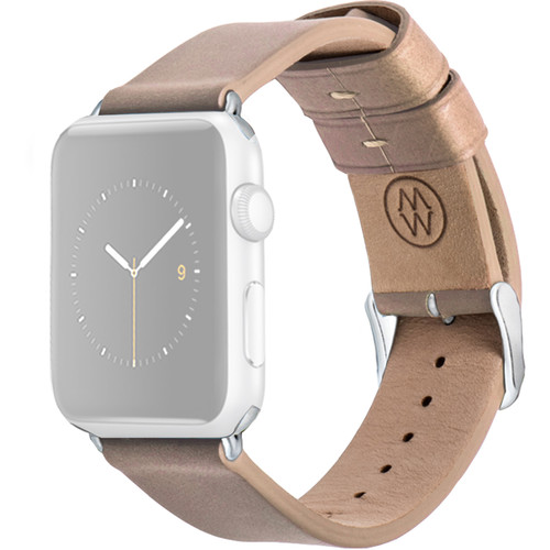 MONOWEAR Beige Leather Band for 38mm Apple Watch (with Matte Silver Adapter)