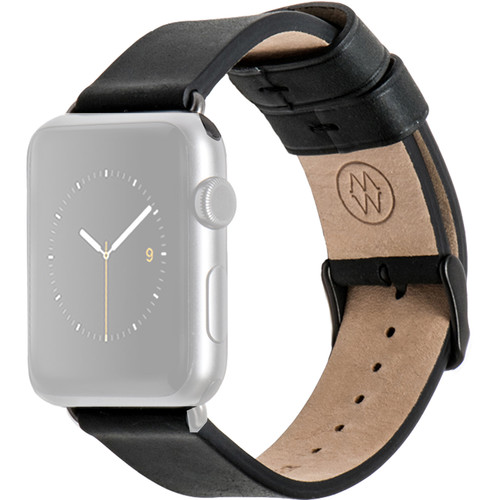 MONOWEAR Black Leather Band for 42mm Apple Watch (with Matte Dark Gray Adapter)