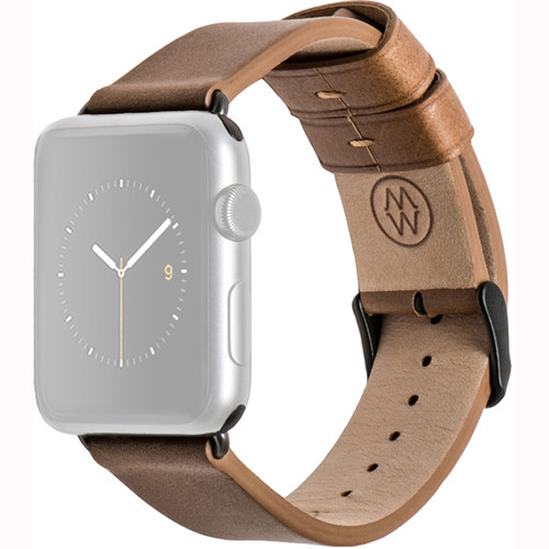 MONOWEAR Brown Leather Band for 42mm Apple Watch (with Matte Dark Gray Adapter)