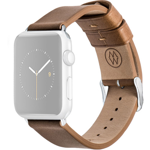 MONOWEAR Brown Leather Band for 42mm Apple Watch (with Matte Silver Adapter)