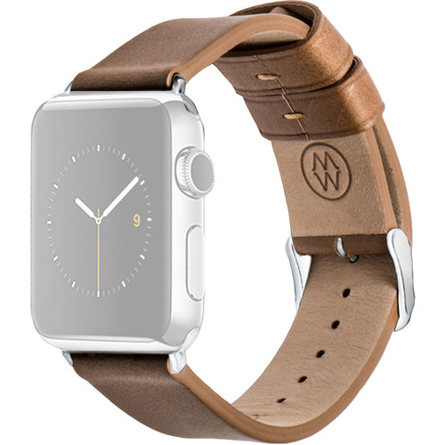 MONOWEAR Brown Leather Band for 42mm Apple Watch (with Polished Silver Adapter)
