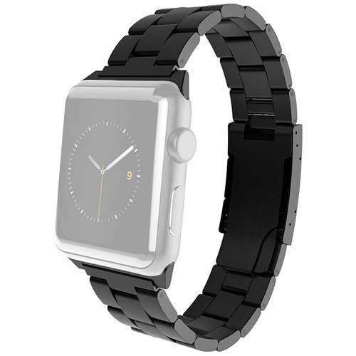 MONOWEAR Black Metal Band for 38mm Apple Watch (with Matte Dark Gray Adapter)