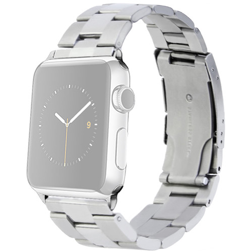MONOWEAR Silver Metal Band for 42mm Apple Watch (with Polished Silver Adapter)