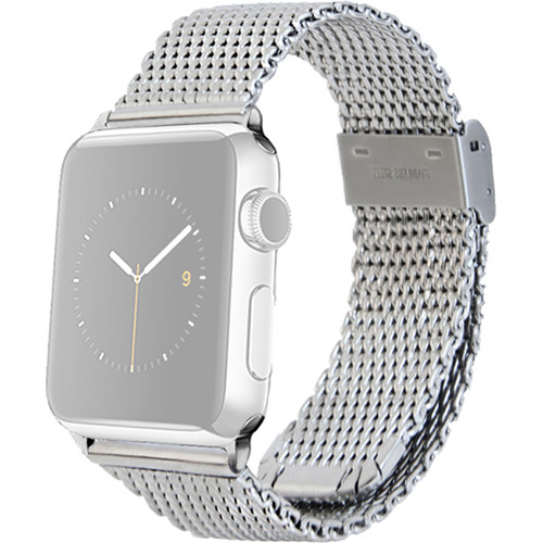 MONOWEAR Mesh Band for 42mm Apple Watch (Silver with Polished Silver Adapter)