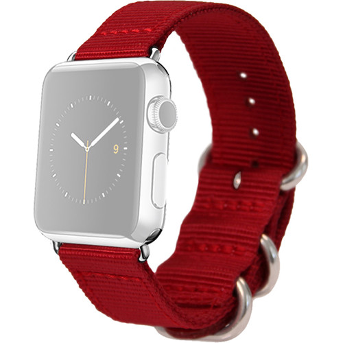 MONOWEAR Nylon Band for 38mm Apple Watch (Red with Matte Silver Adapter)