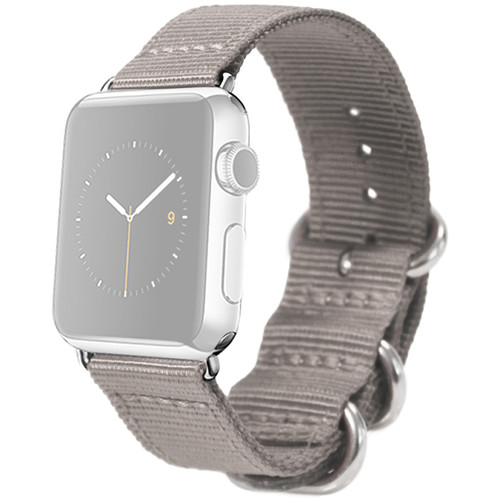 MONOWEAR Nylon Band for 42mm Apple Watch (Gray with Polished Silver Adapter)