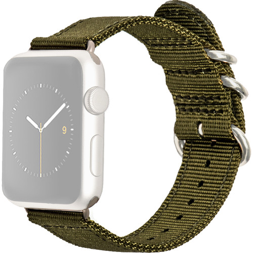 MONOWEAR Nylon Band for 42mm Apple Watch (Olive with Matte Dark Gray Adapter)