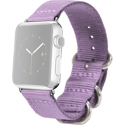 MONOWEAR Nylon Band for 38mm Apple Watch (Purple with Matte Silver Adapter)