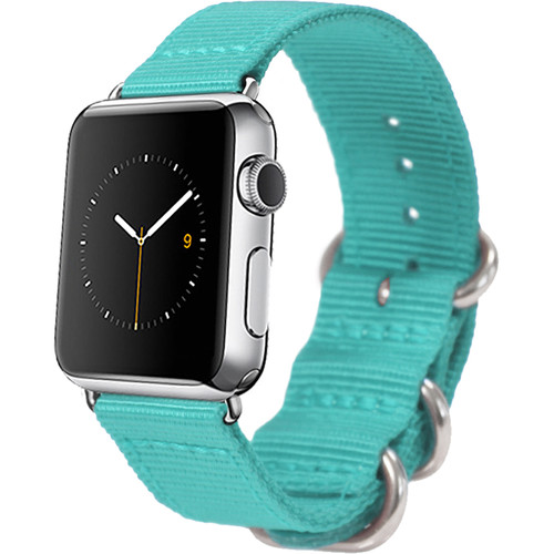 MONOWEAR Nylon Band for 38mm Apple Watch (Turquoise with Polished Silver Adapter)