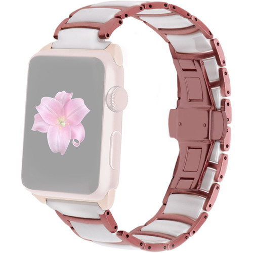 MONOWEAR Ceramic Band for 42mm Apple Watch (Rose and White with Rose Gold Adapter)