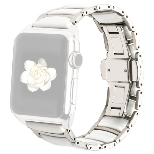 MONOWEAR Ceramic Band for 42mm Apple Watch (Silver and White with Polished Silver Adapter)