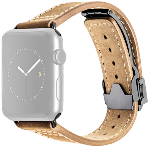 MONOWEAR Deployant Leather Band for 42mm Apple Watch (Crème, Space Gray Hardware)