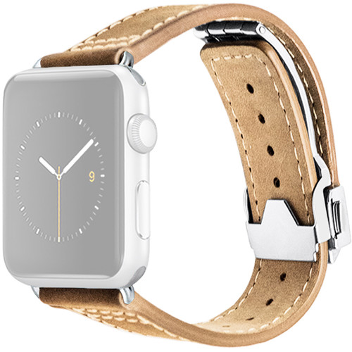 MONOWEAR Deployant Leather Band for 42mm Apple Watch (Crème, Silver Hardware)