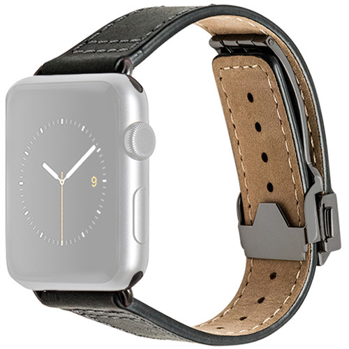 MONOWEAR Deployant Leather Band for 42mm Apple Watch (Black, Space Gray Hardware)