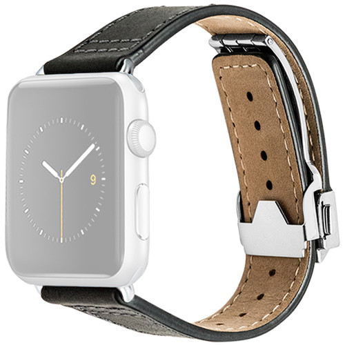 MONOWEAR Deployant Leather Band for 42mm Apple Watch (Black, Silver Hardware)