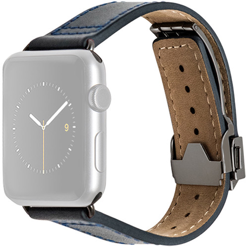 MONOWEAR Deployant Leather Band for 42mm Apple Watch (Navy, Space Gray Hardware)