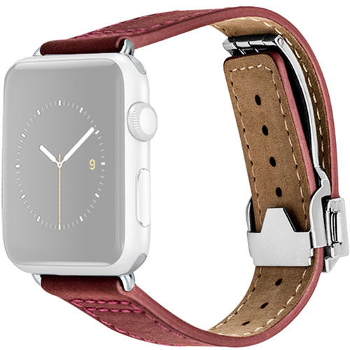 MONOWEAR Deployant Leather Band for 42mm Apple Watch (Red, Silver Hardware)