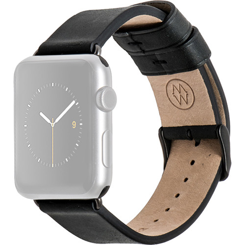 MONOWEAR Black Leather Band for 38mm Apple Watch (with Matte Dark Gray Adapter)