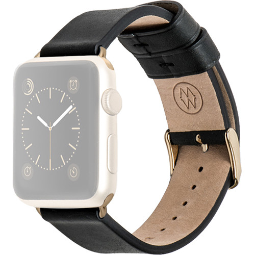MONOWEAR Black Leather Band for 38mm Apple Watch (with Yellow Gold Adapter)