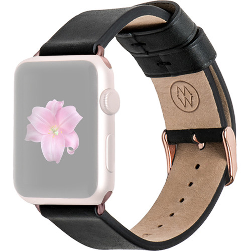 MONOWEAR Black Leather Band for 42mm Apple Watch (with Rose Gold Adapter)