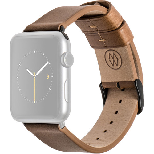 MONOWEAR Brown Leather Band for 38mm Apple Watch (with Matte Dark Gray Adapter)