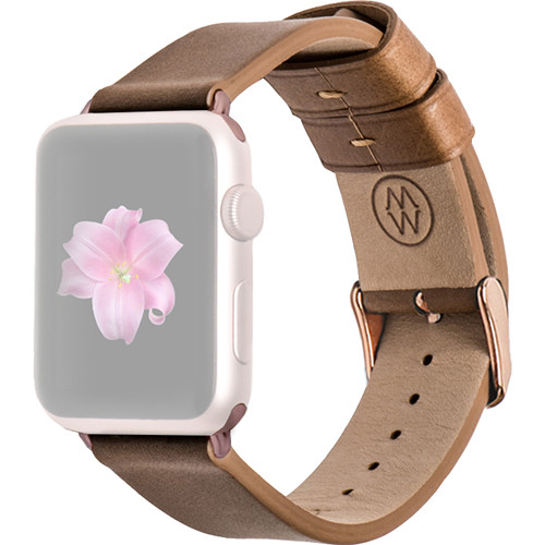 MONOWEAR Brown Leather Band for 42mm Apple Watch (with Rose Gold Adapter)